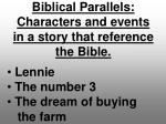 biblical parallels characters and events in a story that reference the bible