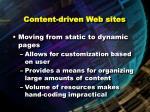 content driven web sites