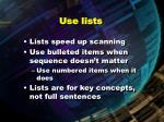 use lists