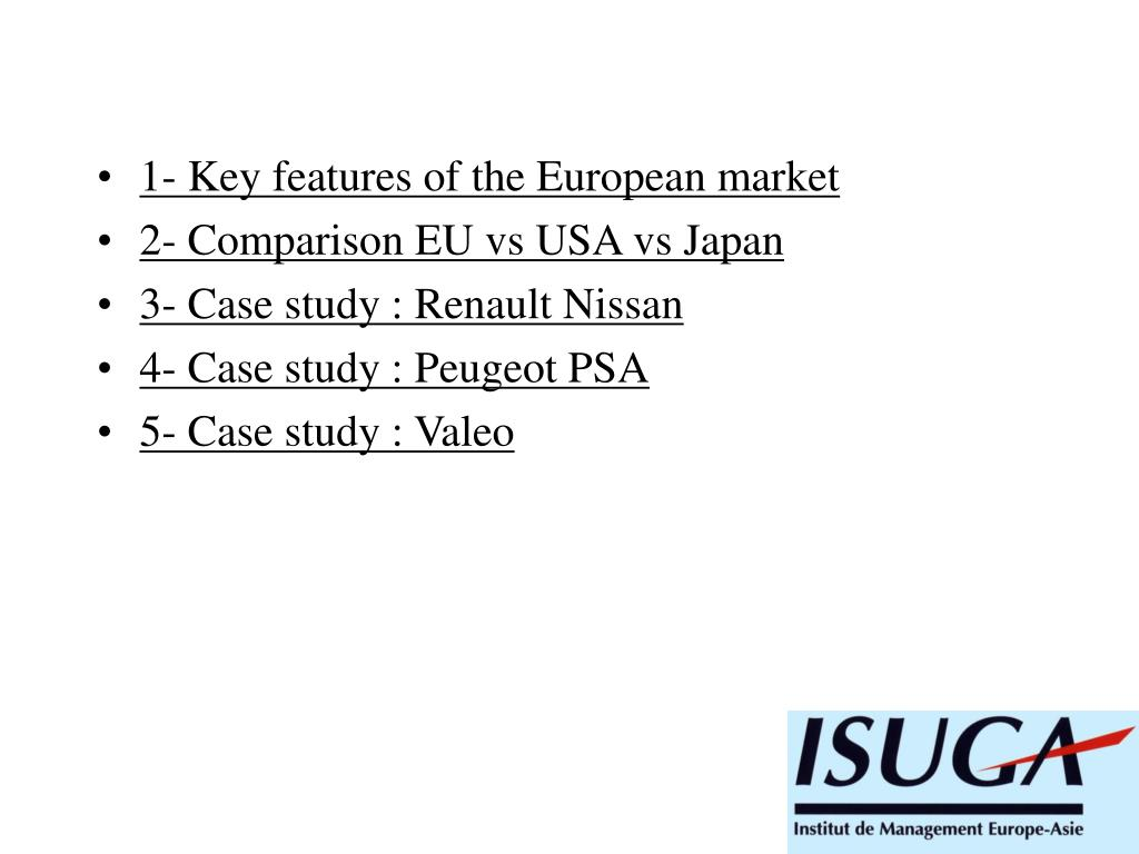 1- Key features of the European market