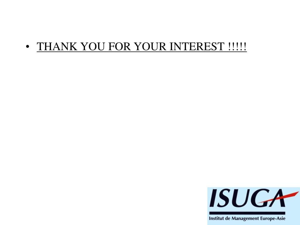 THANK YOU FOR YOUR INTEREST !!!!!