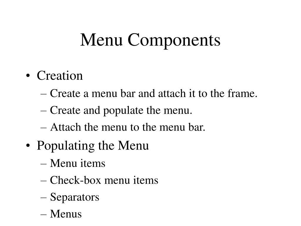 Menu Components