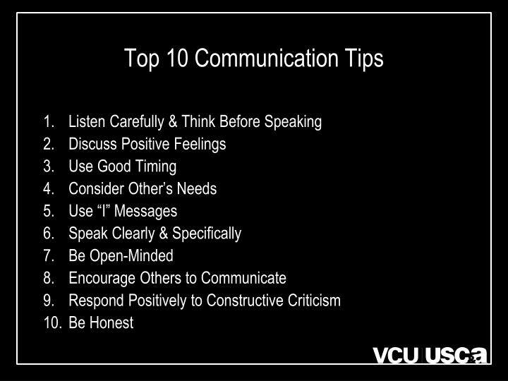 Top 10 communication tips