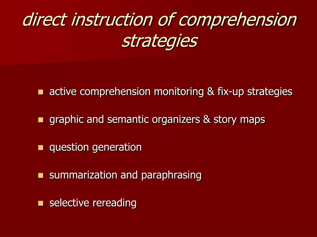 direct instruction of comprehension strategies