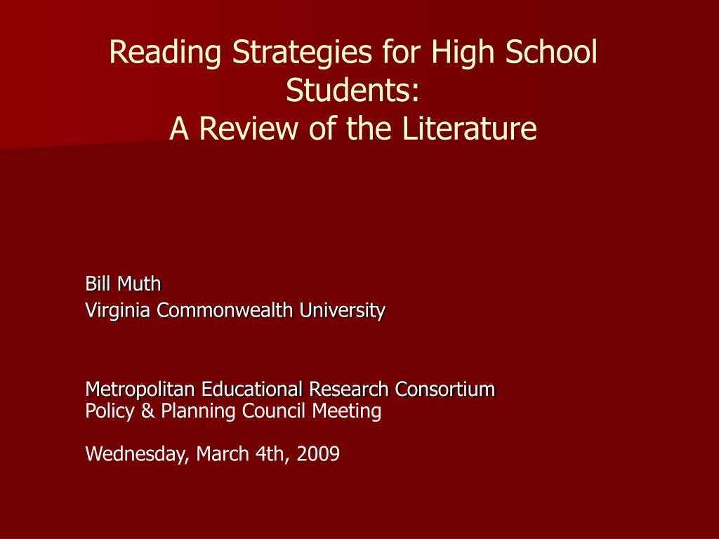 reading strategies for high school students a review of the literature l.