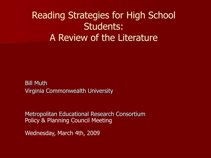 Reading strategies for high school students a review of the literature