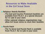 resources to make available in the girl scout store