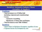 incentives automotive industry cluster assemblers suppliers