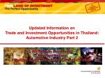 updated information on trade and investment opportunities in thailand automotive industry part 2