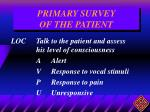 primary survey of the patient