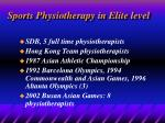 sports physiotherapy in elite level