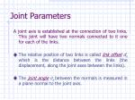 joint parameters