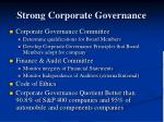 strong corporate governance