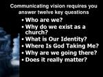 communicating vision requires you answer twelve key questions