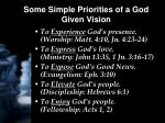 some simple priorities of a god given vision