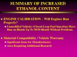 summary of increased ethanol content