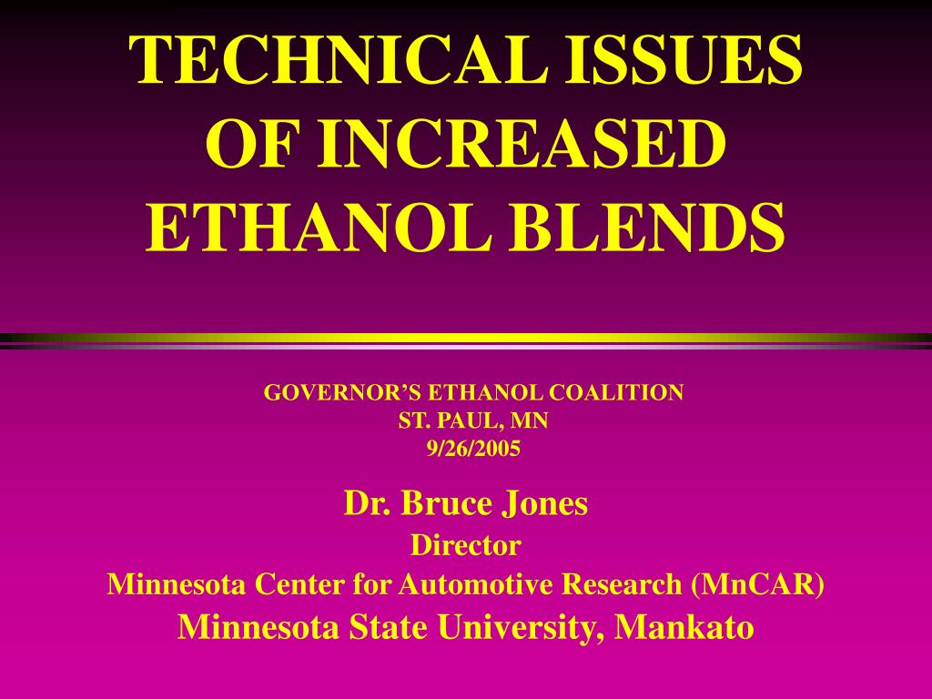 technical issues of increased ethanol blends l.