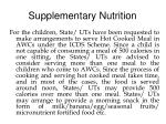 supplementary nutrition