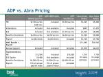 adp vs abra pricing