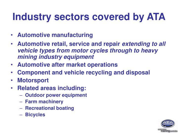 Industry sectors covered by ata