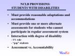 nclb provisions students with disabilities