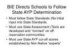 bie directs schools to follow state ayp determination