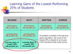 learning gains of the lowest performing 25 of students