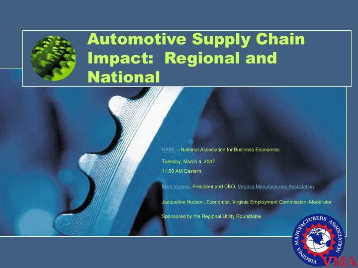 Automotive supply chain impact regional and national