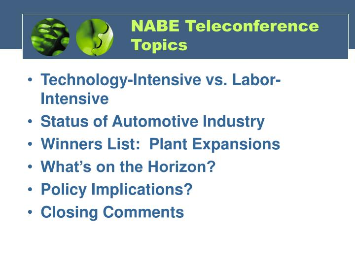 Nabe teleconference topics