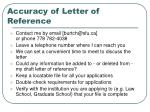 accuracy of letter of reference