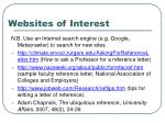 websites of interest