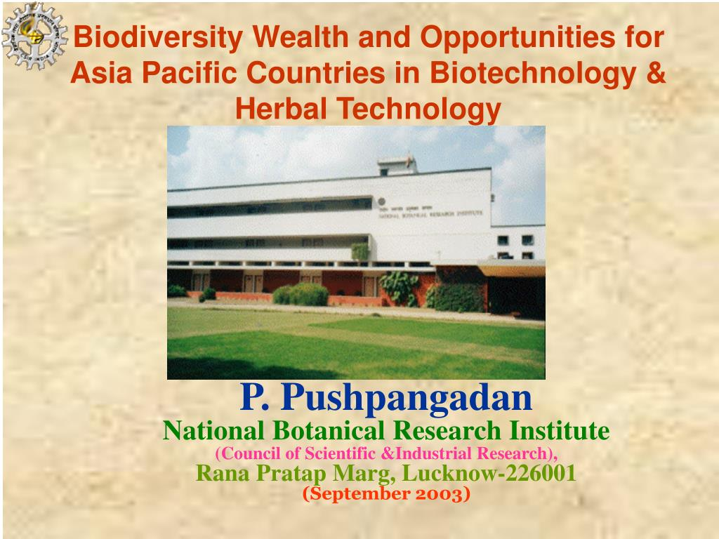 biodiversity wealth and opportunities for asia pacific countries in biotechnology herbal technology l.
