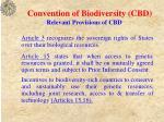 convention of biodiversity cbd relevant provisions of cbd