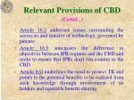 relevant provisions of cbd contd