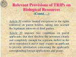 relevant provisions of trips on biological resources contd