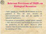 relevant provisions of trips on biological resources