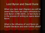 lord byron and david durie