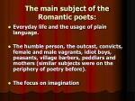 the main subject of the romantic poets