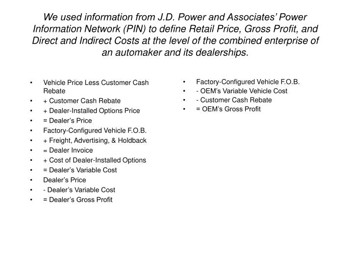 Vehicle Price Less Customer Cash Rebate