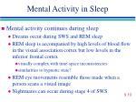 mental activity in sleep