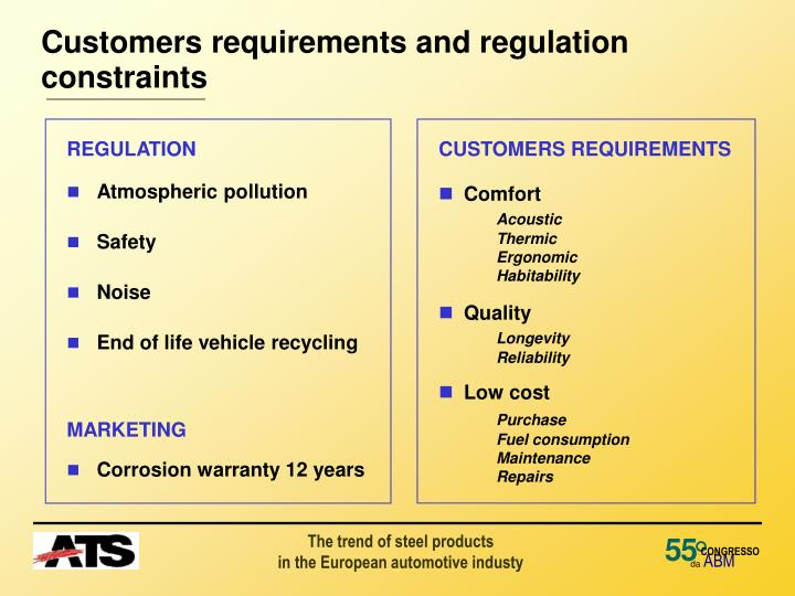 customers requirements and regulation constraints n.