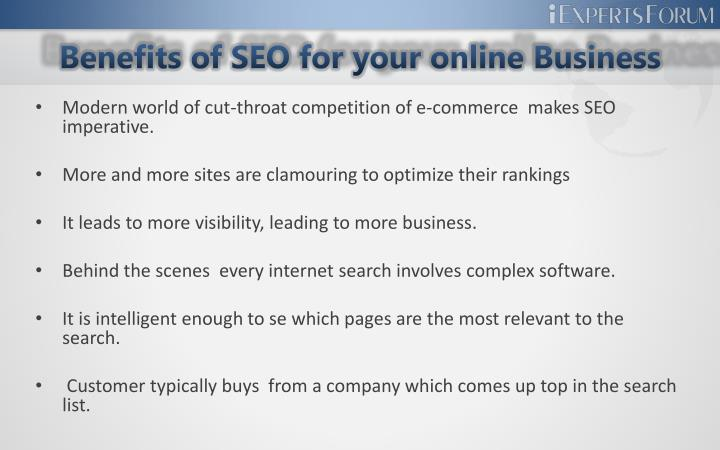 Benefits of seo for your online business