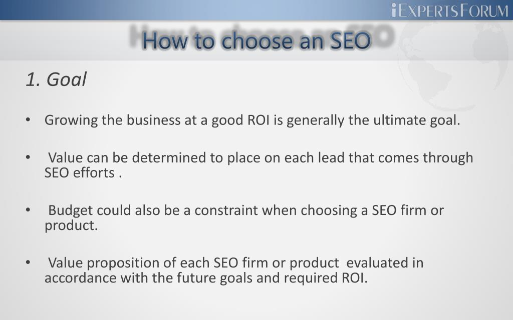 How to choose an SEO