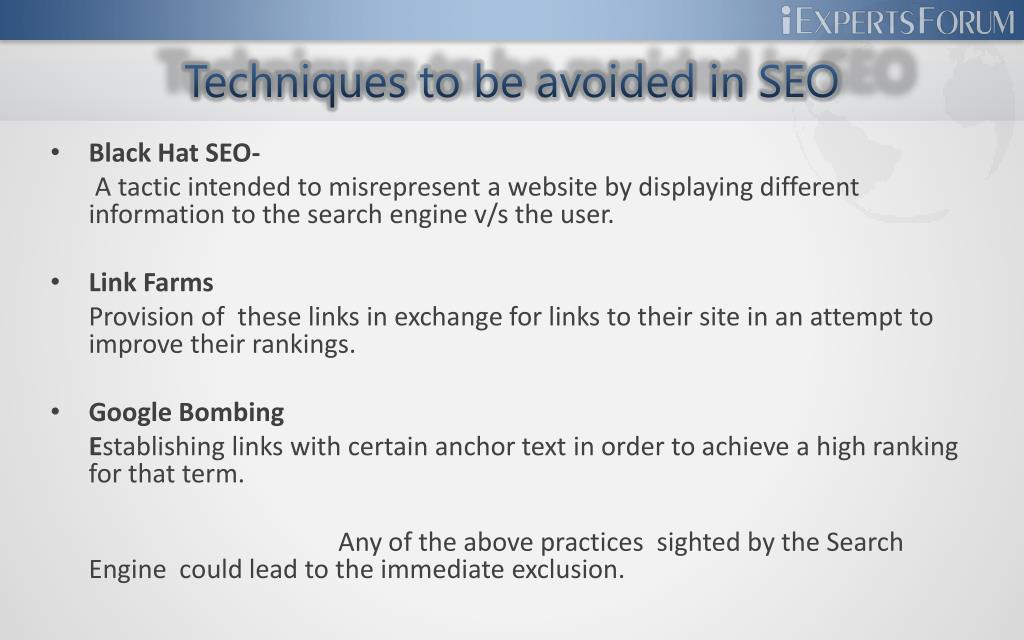 Techniques to be avoided in SEO