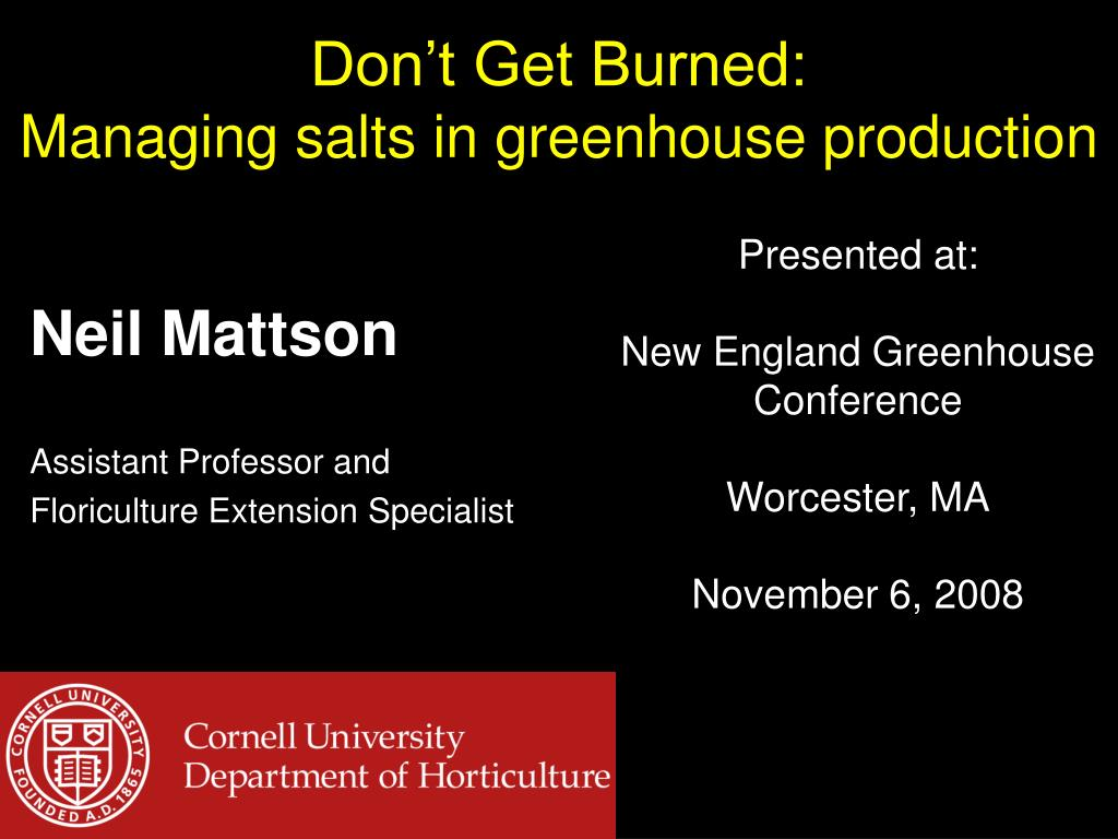 don t get burned managing salts in greenhouse production l.