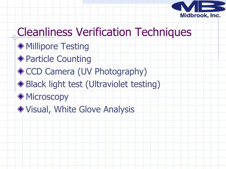 Cleanliness Verification Techniques