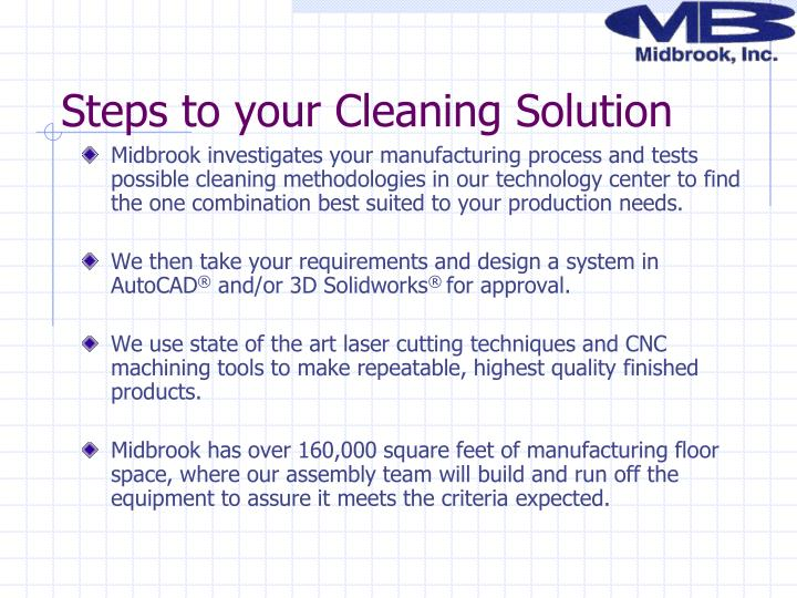 Steps to your Cleaning Solution