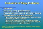 evaluation of sleep problems