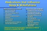 medications that influence sleep wakefulness