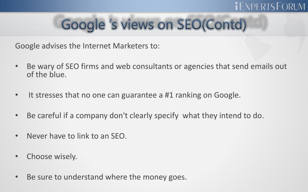 Google 's views on SEO(Contd)